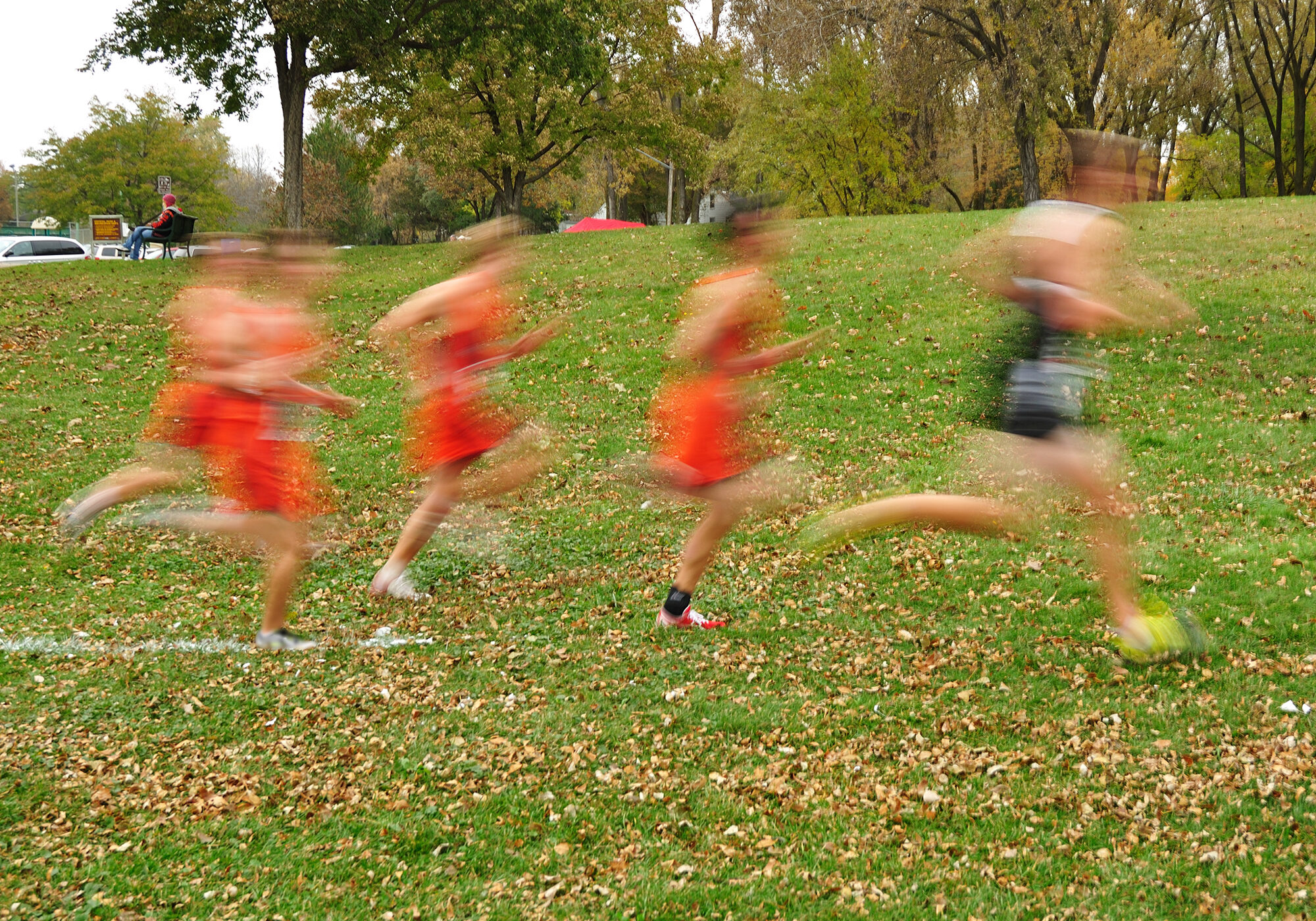 Intentially Blurred Image of Boys Running at a High School Cross Country Meet